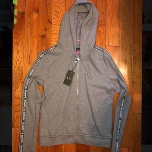 Armani Exchange Women's Gray Zip Up Hoodie